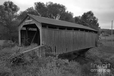 Photograph - Kochenderfer Covered Bridge Over Big Buffalo Creek Black And White by Adam Jewell