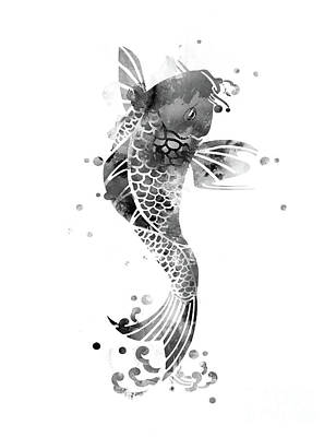 Animals And Feng Shui Art Wall Art - Mixed Media - Koi Fish Black And White by Monn Print