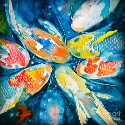 Wall Art - Painting - KOI by Midge Pippel