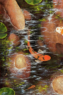 Painting - Koi Pond Left Side by Darice Machel McGuire