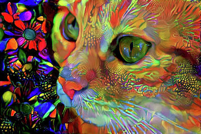 Mixed Media - Koko The Orange Cat by Peggy Collins