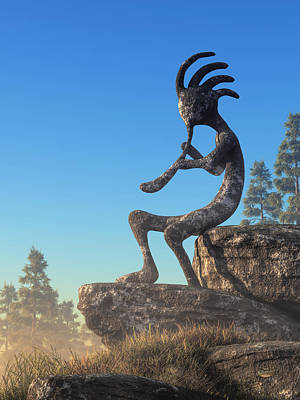 Digital Art - Kokopelli Statue by Daniel Eskridge