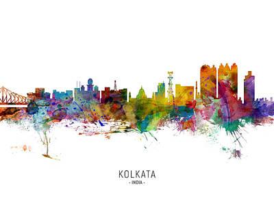 Digital Art - Kolkata Calcutta India Skyline by Michael Tompsett