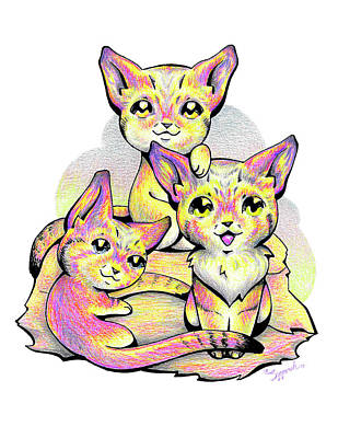 Drawing - Kolorful Kitties by Sipporah Art and Illustration