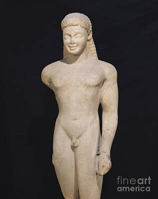 Sculpture - Kouros, From Paros, Near The Sanctuary Of Asklepios, Circa 540 Bc by Greek School