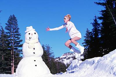 Photograph - Kristen Mcmenamy In Dolce And Gabbana With Snowman by Arthur Elgort