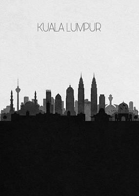 Digital Art - Kuala Lumpur Cityscape Art by Inspirowl Design