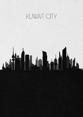 Digital Art - Kuwait City Cityscape Art by Inspirowl Design