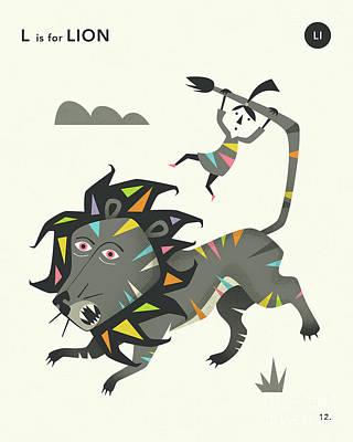 Illustration Digital Art - L Is For Lion 2 by Jazzberry Blue