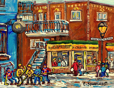 Painting - La Chilenita Mexican Eatery Hockey Art Corner Cafe Rue Roy And Debullion C Spandau Quebec Artist by Carole Spandau