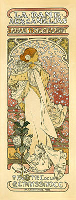 Painting - La Dame Aux Camelias Sarah Bernhardt Vintage French Advertising by Vintage French Advertising