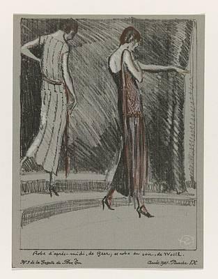 Painting - La Gazette Du Bon Ton, 1921 - No. 3, Pl Ix  Dress Afternoon Beer,. And Evening Dress, Worth. Wearing by La Gazette du Bon Ton