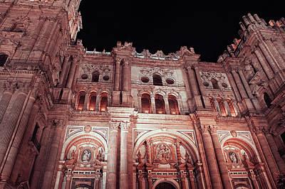 Photograph - La Manquita. Catedral De Malaga At Night by Jenny Rainbow
