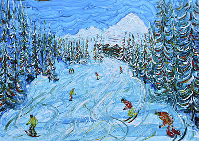 Painting - La Plagne Ski Print by Pete Caswell
