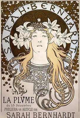 Drawing - La Plume, Featuring Sarah Bernhardt, 1896 by Alphonse Marie Mucha