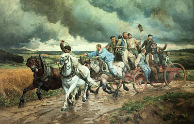 Painting - La Pompe A Feu - The Fire Engine by Eugene Burnand