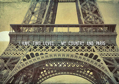 Photograph - La Tour Eiffel Quote by JAMART Photography