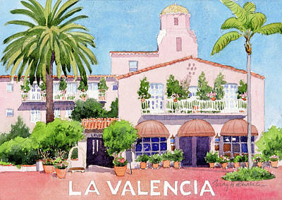 Painting - La Valencia With Lettering by Mary Helmreich