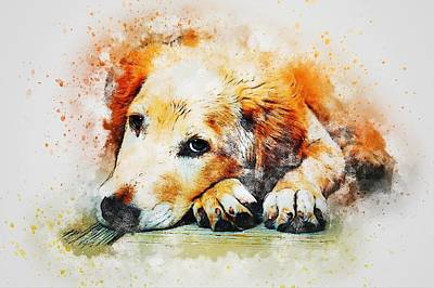 Watercolor Pet Portraits Wall Art - Painting - Golden Retriever Holiday by ArtMarketJapan