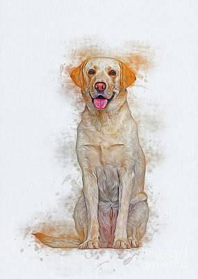 Digital Art - Labrador Retriever by Ian Mitchell