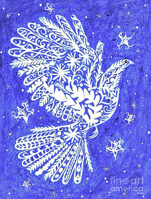 Painting - Lacey Bird And Stars by Lise Winne