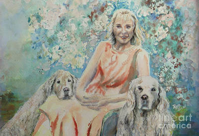 Painting - Lady And Dogs In Rose Garden by Ryn Shell