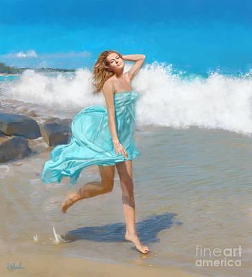 Painting - Lady In Sea Foam by Debra Chmelina