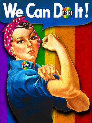 Painting - Lady Human Right Lgbt Pride Rosie The Riveter T Shirt For Women Men by Tony Rubino