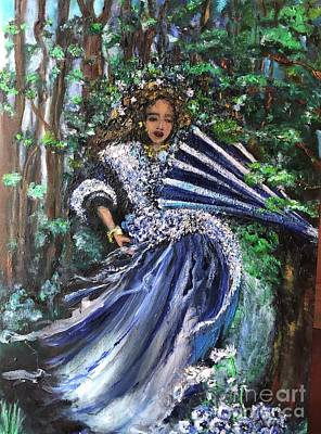 Art Print featuring the painting Lady In Forest by Laurie Lundquist
