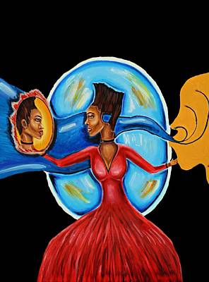 Painting - African Goddess Lady In Red Afrocentric Art Mother Earth Black Woman Art by Ai P Nilson
