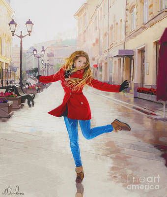 Painting - Lady In Red by Debra Chmelina