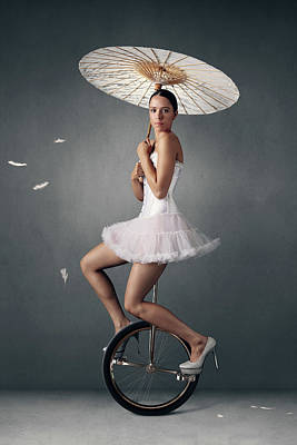 Royalty-Free and Rights-Managed Images - Lady on a unicycle by Johan Swanepoel