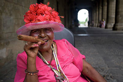 Photograph - Lady Smoking Cigar, Plaza Armas by Karl Blackwell