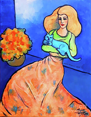 Painting - Lady With Blue Cat by Stacey Mayer