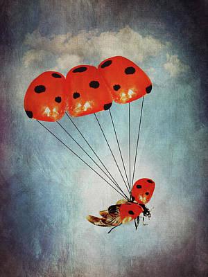 Surrealism Digital Art - Ladybug with parachute by Mihaela Pater