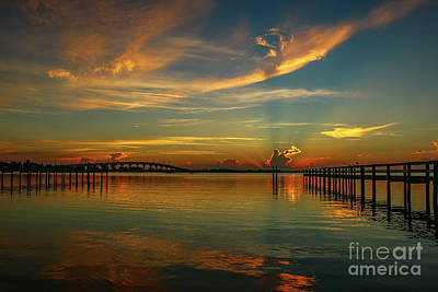 Photograph - Lagoon Sunbeam Sunrise by Tom Claud