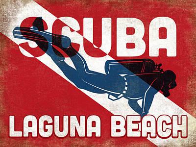 Laguna Beach Wall Art - Digital Art - Laguna Beach Scuba Diver - Blue Retro by Flo Karp
