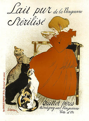 Painting - Lait Pur Sterilise Cats Vintage French Advertising by Vintage French Advertising