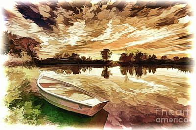 Painting - Lake Boat A18-119 by Ray Shrewsberry