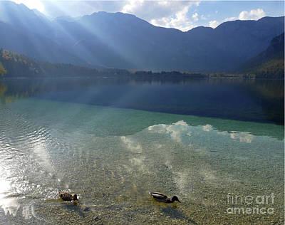 Photograph - Lake Bohinj - Sun Rays by Phil Banks
