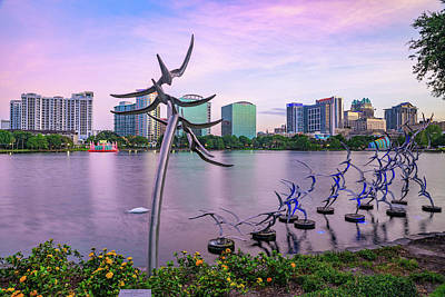 Royalty-Free and Rights-Managed Images - Lake Eola Sunset and Orlando Skyline by Gregory Ballos