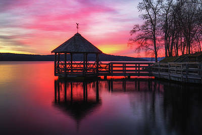 Photograph - Lake Gazebo Sunrise by Robert Clifford