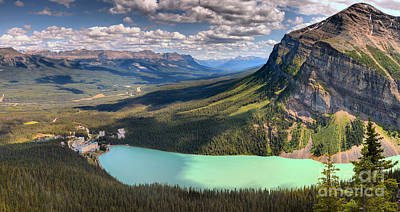 Photograph - Lake Louise Aerial Mountain View by Adam Jewell