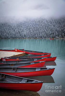Photograph - Lake Louise Canoes by Inge Johnsson