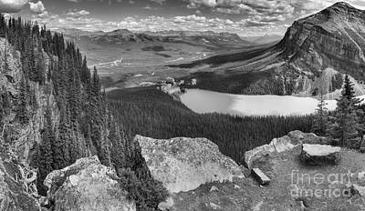Photograph - Lake Louise Little Beehive Panorama Black And White by Adam Jewell