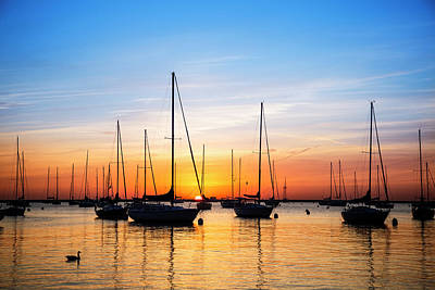 Photograph - Lake Michigan Sunrise and Sailboats by Joe Miller