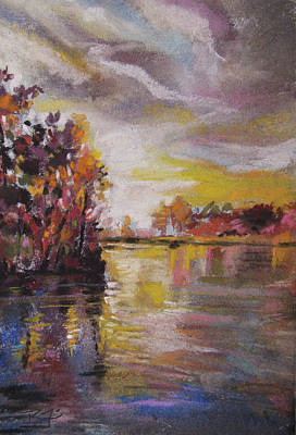 Pastel - Lake Reflections by Jean Batzell Fitzgerald