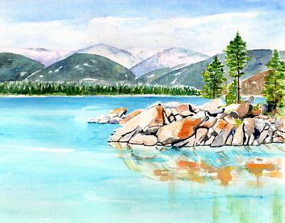Painting - Lake Tahoe Sand Harbor by CarlinArt Watercolor