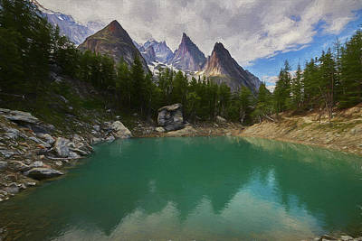 Digital Art - Lake Verde in the Alps II by Jon Glaser