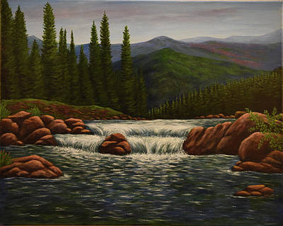 Painting - Lake Waterfall by Gloria Johnson